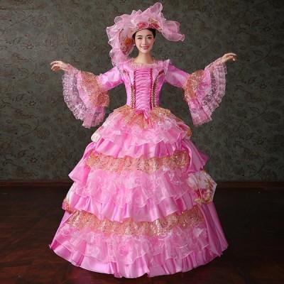 ワンピース ロングドレス お姫様カラードレス 中世貴族風 レディース プリンセスライン 豪華なドレス 刺繍 ステージ衣装 舞台衣装用 王族服 オペラ声楽 福袋