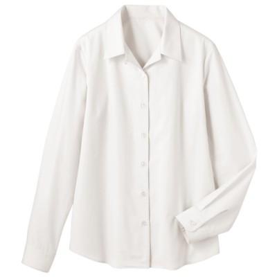 形態安定ハマカラーシャツ(長袖)(UVカット・抗菌防臭・洗濯機OK・部屋干しOK)/ホワイト/LT