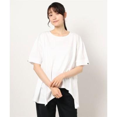 tシャツ Tシャツ ボタンスリーブイレヘムチュニック