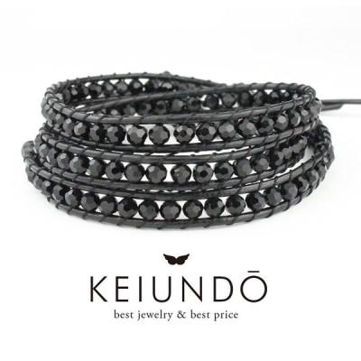 KEIUNDO レザー 3連 ラップ ブレスレット ブラック クリスタル 巾着袋付き レディース メンズ