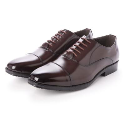 ジーノ Zeeno ビジネスシューズ メンズ 幅広 3EEE 防滑 レースアップ ストレートチップ 内羽根 紳士靴 大きいサイズ対応 キングサイズ (D/Brown)