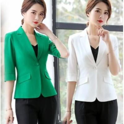 韓国ファッション すっきりシルエットテーラードジャケット 半袖 スタイリッシュ 美人 シンプル OL ジャケット 入園 入学 卒業式 ダンス