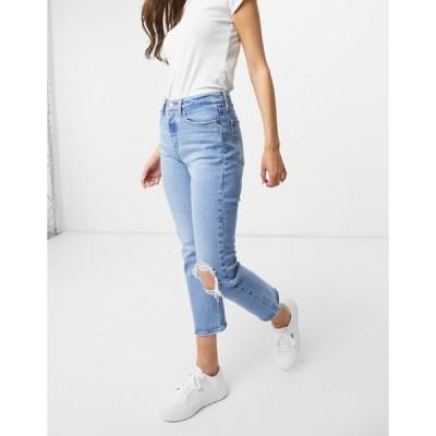 リーバイス レディース デニムパンツ ボトムス Levi's wedgie straight leg jeans with busted knee in light wash