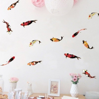 3枚以上で送料無料  錦鯉 魚 6枚セット アジアンテイスト 和風 手描き風イラスト ミニシール ウォールステッカー DIY