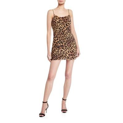 アリス アンド オリビア レディース ワンピース トップス Harmony Leopard Cowl-Neck Mini Slip Dress