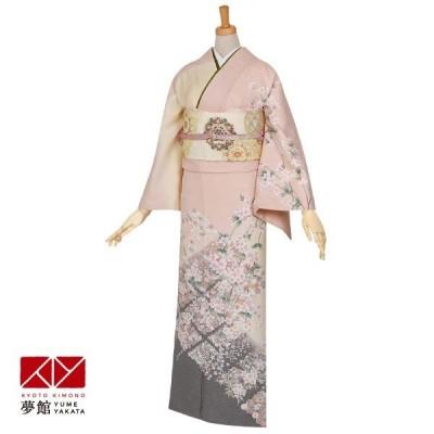 袷 訪問着 レンタル 結婚式 入学式 卒業式 ピンク 枝垂桜に花菱 対応身長155〜159cm H299