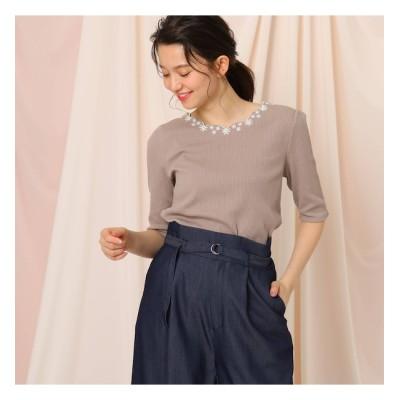 【クチュール ブローチ/Couture brooch】 【WEB限定(LL)あり/洗える】スカラップネック刺繍5分袖カットソー