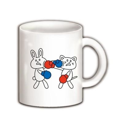 ウサギと猫の相打ち マグカップ(ホワイト)