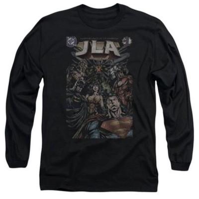 ユニセックス 衣類 トップス Trevco Jla-No. 1 Cover Long Sleeve Adult 18-1 Tee, Black - Medium グラフィックティー