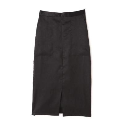 ROSE BUD/ローズ バッド ミディ丈光沢スカート ブラック -