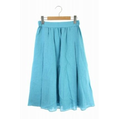 【中古】ロペ ROPE 19SS スカート ロング フレア リネン 36 青 /YS ■OS レディース