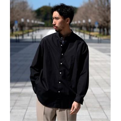 【エディフィス】 FINX ブロード バンドカラーシャツ メンズ ブラック S EDIFICE