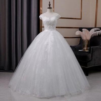 ウェディングドレス 袖あり 白 安い 結婚式 花嫁 二次会 パーティードレス 編上げ レースアップ プリンセスライン ウエディング 大きいサ