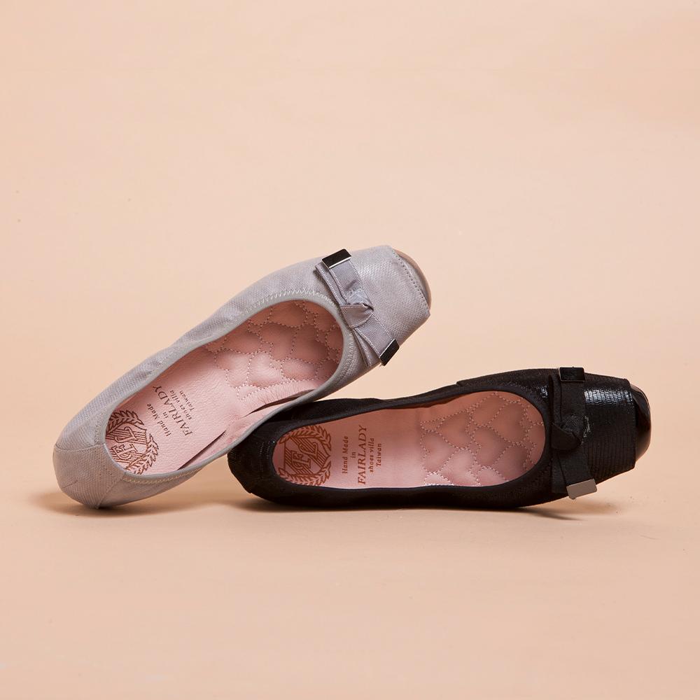 【新品】我的旅行日記-通勤版 光澤扭結芭蕾平底鞋 黑 (501738)