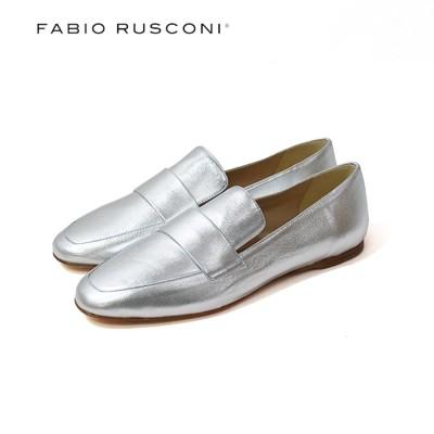 ファビオルスコーニ Fabio Rusconi ポインテッドトゥエナメルサケットローファー (シルバー)