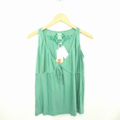 【中古】未使用品 リプレイ タグ付き カットソー Tシャツ Vネック プルオーバー シルク 刺繍 ノースリーブ S 緑