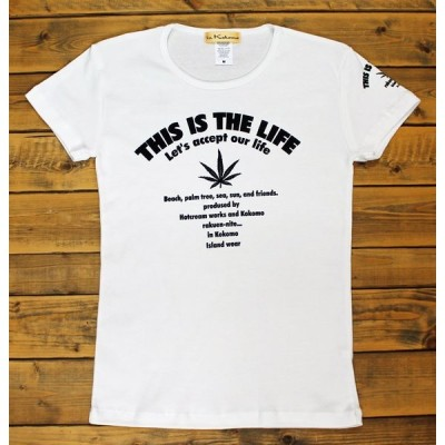 Tシャツ レディース ロゴ&ヘンプ柄  ハワイアン フラ