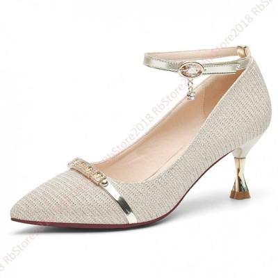 ポインテッドトゥ パンプス 大きいサイズ 歩きやすい 柔らかい  ストラップ  レディース靴  履きやすい 軽量 疲れにくい  甲浅  かわいいパンプス 純色 浅い口