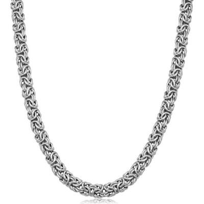 Kooljewelry Sterling Silver 6.5mm Byzantine Link Chain Necklace (18 in