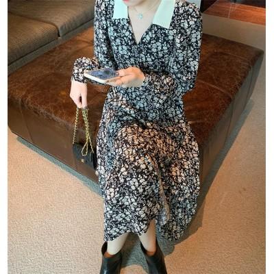 新色が安い! レトロ ファッション 花柄 ロングセクション ワンピース 秋 フレンチ レディース 長袖  Vネック シフォンワンピース  減齢  ゆったりする ロングスカート