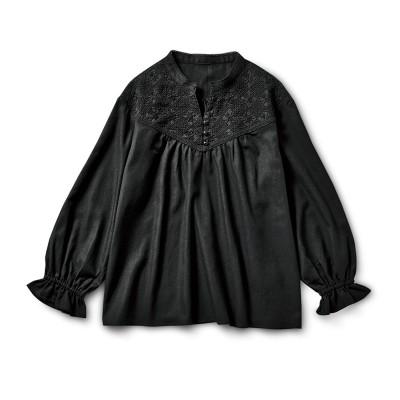 着るだけでパッと大人の華やぎ ブラックレースプルオーバー〈スキッパーデザイン〉 リブ イン コンフォート フェリシモ FELISSIMO