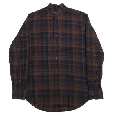 Salvatore Piccolo バンドカラーチェックシャツ ブラウン サイズ:39-15 1/2 (三宮店) 210116