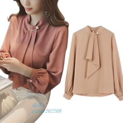 トップスシャツブラウス長袖レディース大きいサイズピンク白体型カバー韓国