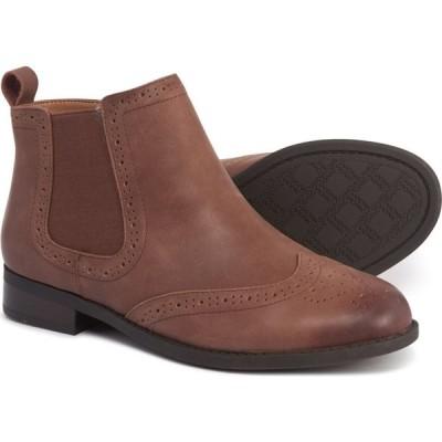 バイオニック Vionic レディース ブーツ ブーティー シューズ・靴 Sawyer Chelsea Ankle Booties - Leather Dark Brown