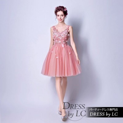 パーティードレス 二次会 結婚式 披露宴 司会者 舞台衣装 花嫁 ピンク ミニドレス