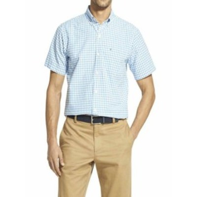 IZOD アイゾッド ファッション アウター Izod Mens Breeze Gingham Short Sleeve Button Down Shirt