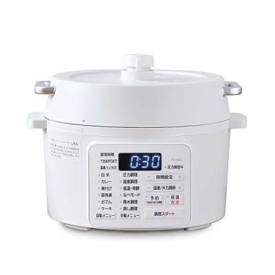 アイリスオーヤマ 電気圧力鍋 2.2L 2WAYタイプ グリル鍋 6種類自動メニュー 65メニュー掲載レシピブック付き ホワイト PC-MA