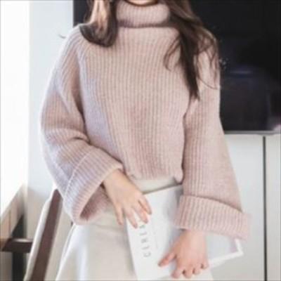 おすすめ 今季トレンド ゆったり ニットプルオーバー オフタートル 幅広袖 シンプル きれいめ あぜ編み 体型カバー hf005