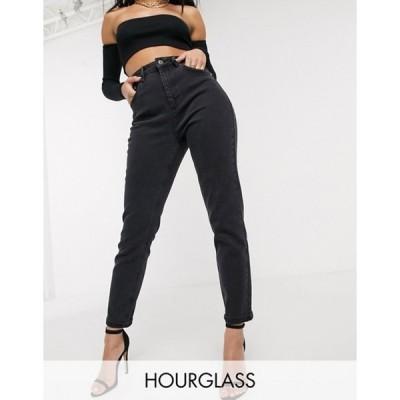 エイソス レディース デニムパンツ ボトムス ASOS DESIGN Hourglass high rise 'Farleigh' slim mom jeans in washed black