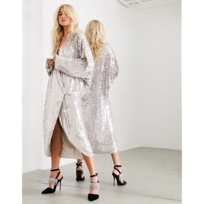 エイソス ミディドレス レディース ASOS EDITION oversized embellished drape sleeve wrap midi dress エイソス ASOS シルバー 銀
