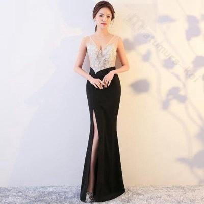 ドレス 二次会 結婚式 女性 ブラック Vネックライン 透け感 Aライン スレンダーライン 袖なし オフショルダー  ロングドレス 演奏会 パーティー