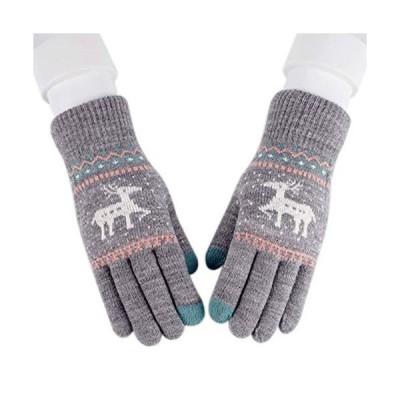 QinTian レディース ニット 手袋 フルフィンガー 冬のミトン 女性手袋 厚手 かわいいエルク鹿スノーフレーククリスマスギフト 学生手