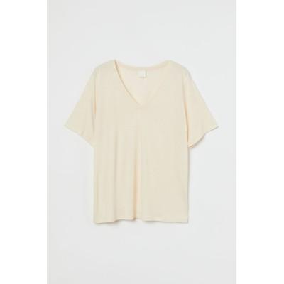 H&M - ビスコースVネックTシャツ - オレンジ
