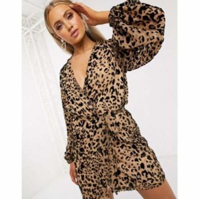 クラブエル ロンドン Club L London レディース ワンピース ラップドレス ミニ丈 wrap front belted mini dress in leopard print レオパ