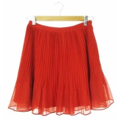 【中古】グレースコンチネンタル GRACE CONTINENTAL スカート プリーツ ミニ シアー 36 赤 レッド /CK19 レディース