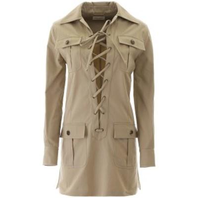 SAINT LAURENT PARIS/イヴ サンローラン コート BEIGE VINTAGE Saint laurent saharienne mini dress レディース 春夏2020 608459 Y3A41
