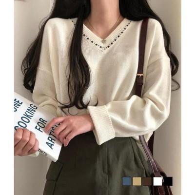 gifteabox レディース ニット/セーター Airy Stitch V-Neck Loose Knit