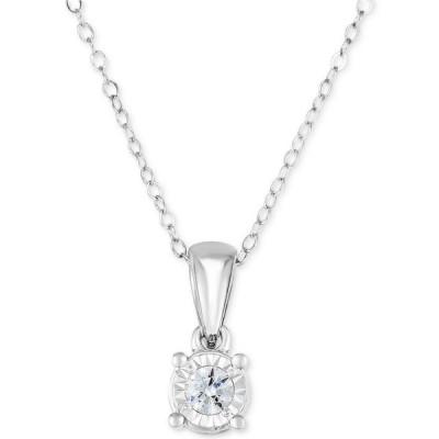 """トゥルーミラクル TruMiracle ユニセックス ネックレス Diamond Solitaire 18"""" Pendant Necklace (1/4 ct. t.w.) in 14k White Gold White Gold"""