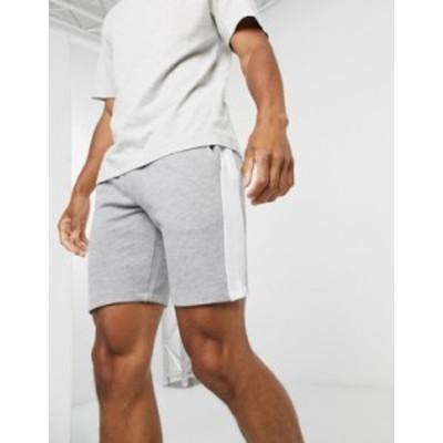 エイソス メンズ ハーフパンツ・ショーツ ボトムス ASOS DESIGN jersey skinny shorts with side stripe in gray marl Gray marl