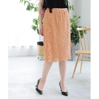 ANAYI/アナイ パネルレースタイトスカート オレンジ1 38