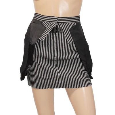 ALEXANDER WANG アレキサンダーワン 新品タグ付き ストライプ柄 レザーベルトデザイン ミニスカート ブラック size 0 レディース