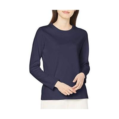 セシール Tシャツ あったか シンプル クルーネックTシャツ 長袖 綿100% 吸湿発熱 レディース NB-6216 ネイビー S