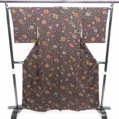 小紋 着物 和風 花模様 温かみある染めの彩り 江戸紫色 A541-10 M 中古