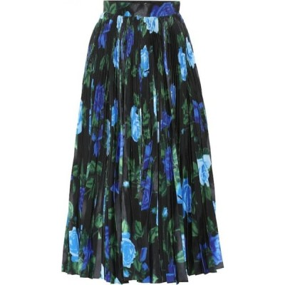 リチャード クイン Richard Quinn レディース ひざ丈スカート スカート Floral high-rise satin midi skirt Blue Rose
