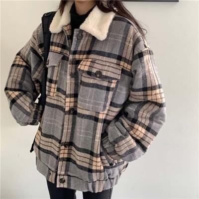 チェックボアブルゾンコート レディース アフター ブルゾン ジャンパー ジャケット 襟付きボア 防寒 あったか 羽織