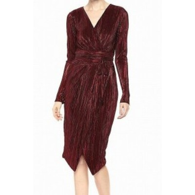 Rachel Roy レイチェルロイ ファッション ドレス Rachel Rachel Roy Womens Red Size XS Metallic Pleated Sheath Dress